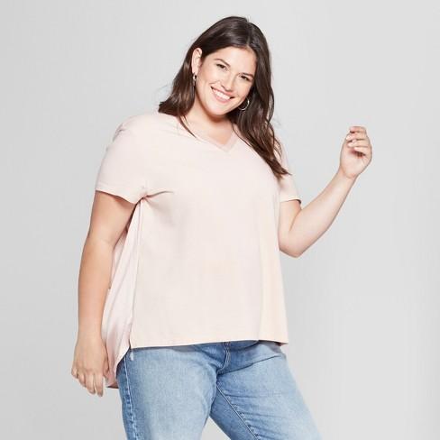 576d04e2a2e Women s Plus Size Ruched Back Short Sleeve T-Shirt- Ava   Viv™ Blush ...