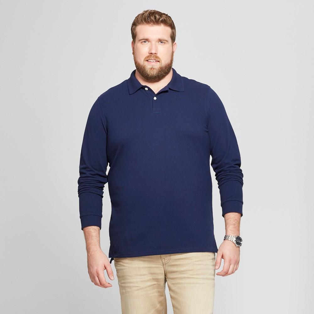 Men's Big & Tall Long Sleeve Pique Polo Shirt - Goodfellow & Co Navy Voyage 4XB