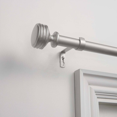 """36""""x72"""" Adjustable Duke 1"""" Curtain Rod and Coordinating Finial Set Matte Silver - Exclusive Home"""