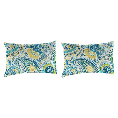 Outdoor Set Of 2 Rectangular Accessory Toss Pillows In Gilford Baltic - Jordan Manufacturing - image 1 of 1