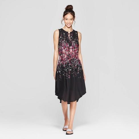 12581efd8958 Women s Floral Print Sleeveless V-Neck Cinched Waist Midi Dress -  Xhilaration™ Black