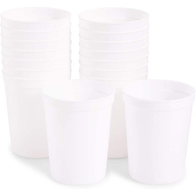 Juvale 16-Pack Reusable Plastic Cup Party Tumblers Stadium Cups, White, 16 oz
