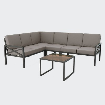 Blakely 5pc Outdoor Sectional - Gray - Leisure Made