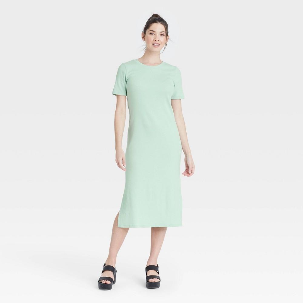 Women 39 S Short Sleeve Rib Knit T Shirt Dress A New Day 8482 Mint Xs