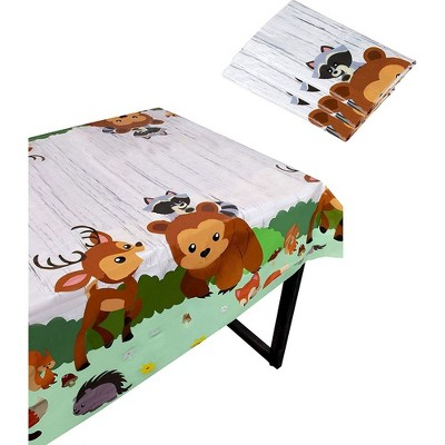 """Blue Panda 3 Pcs Woodland Animal Disposable Plastic Table Cover Tablecloth 54x108"""" Kids Birthday Party Supplies"""
