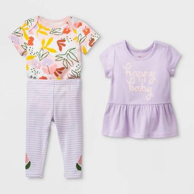 Baby Girls' Floral Top & Bottom Set - Cat & Jack™ Purple Newborn