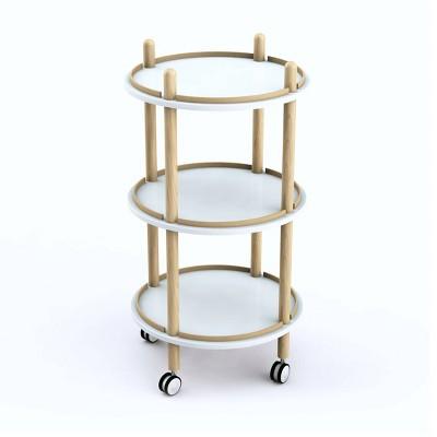 Blythe 3 Tier Bar Cart White/Natural - Jamesdar