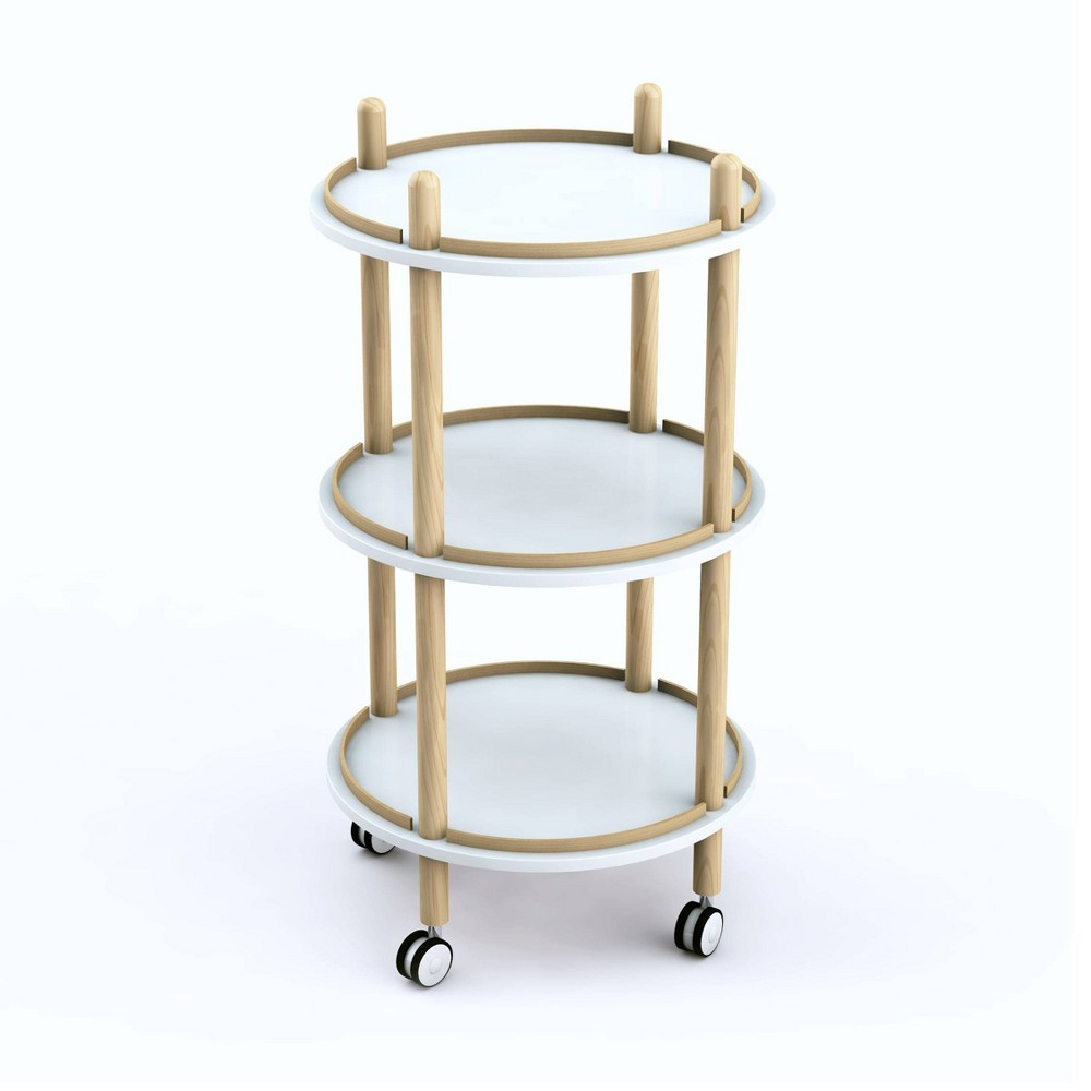 Image of Blythe 3 Tier Bar Cart White/Natural - Jamesdar, White Brown
