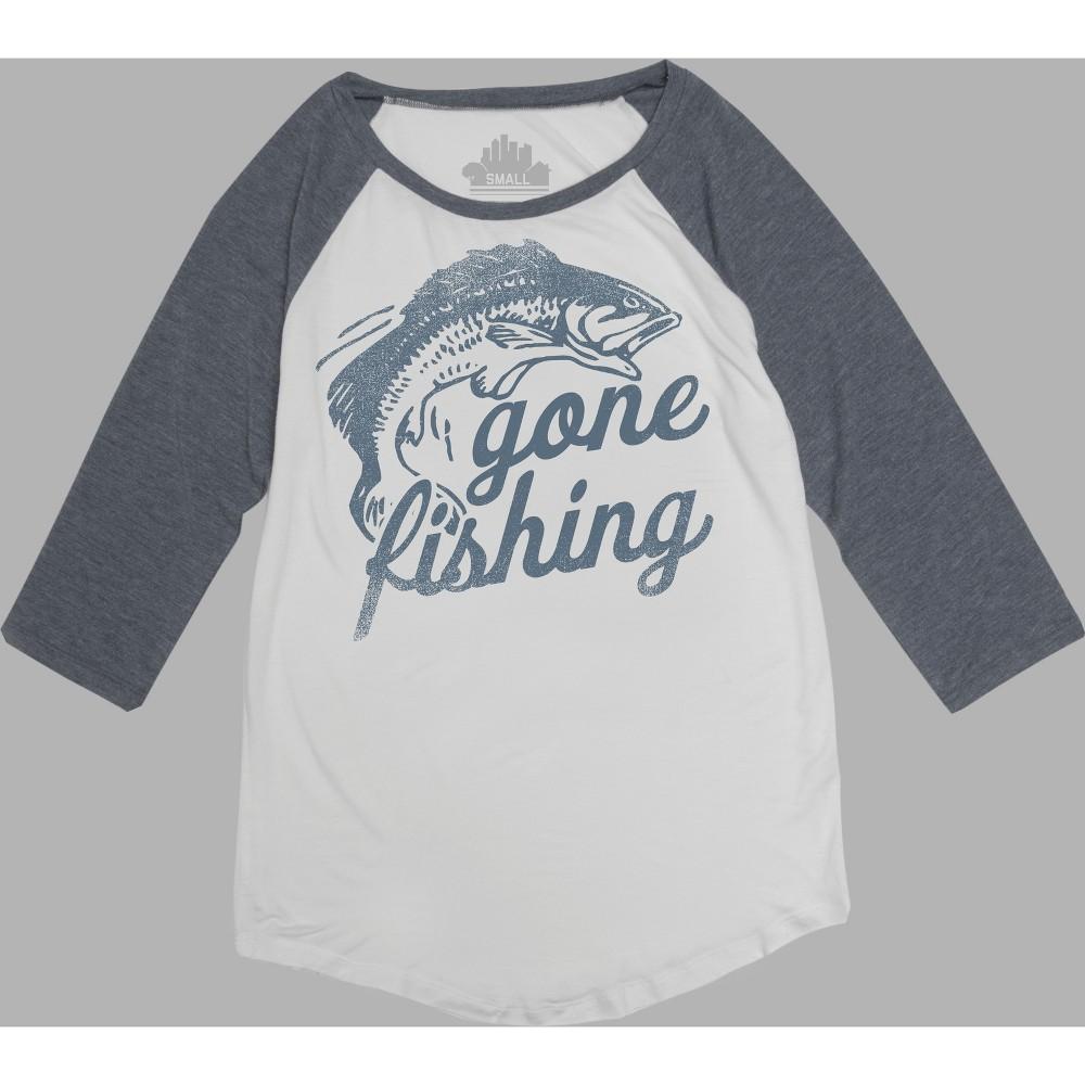Women's 3/4 Sleeve Gone Fishing Graphic T-Shirt - Awake White XL