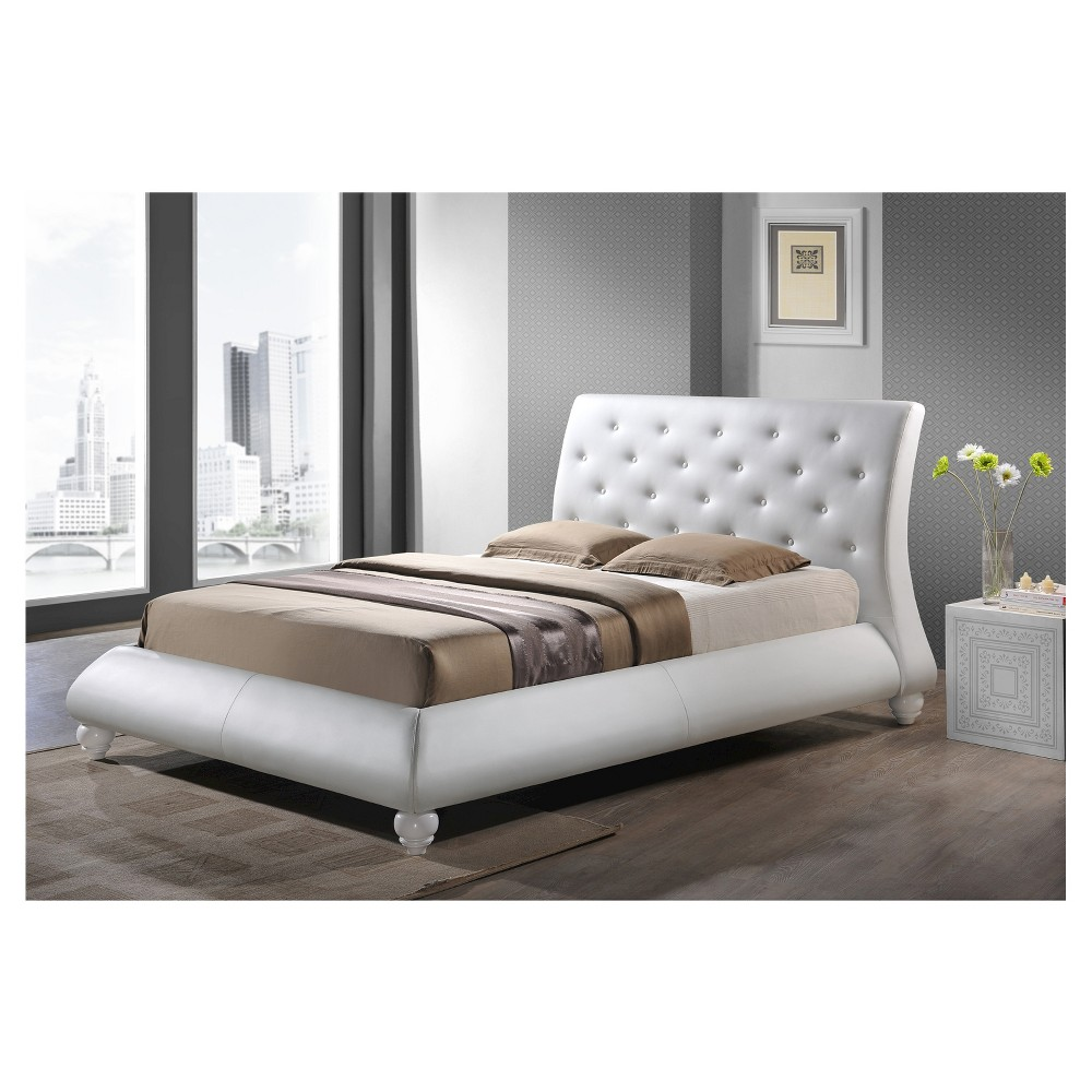 Image of Metropolitan Wood and Leather Contemporary Bed - White (Queen) - Baxton Studio