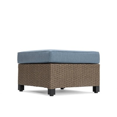 Nolin Cushioned Ottoman Weathered Brown Frame Sunbrella Spectrum Denim Fabric - La-Z-Boy