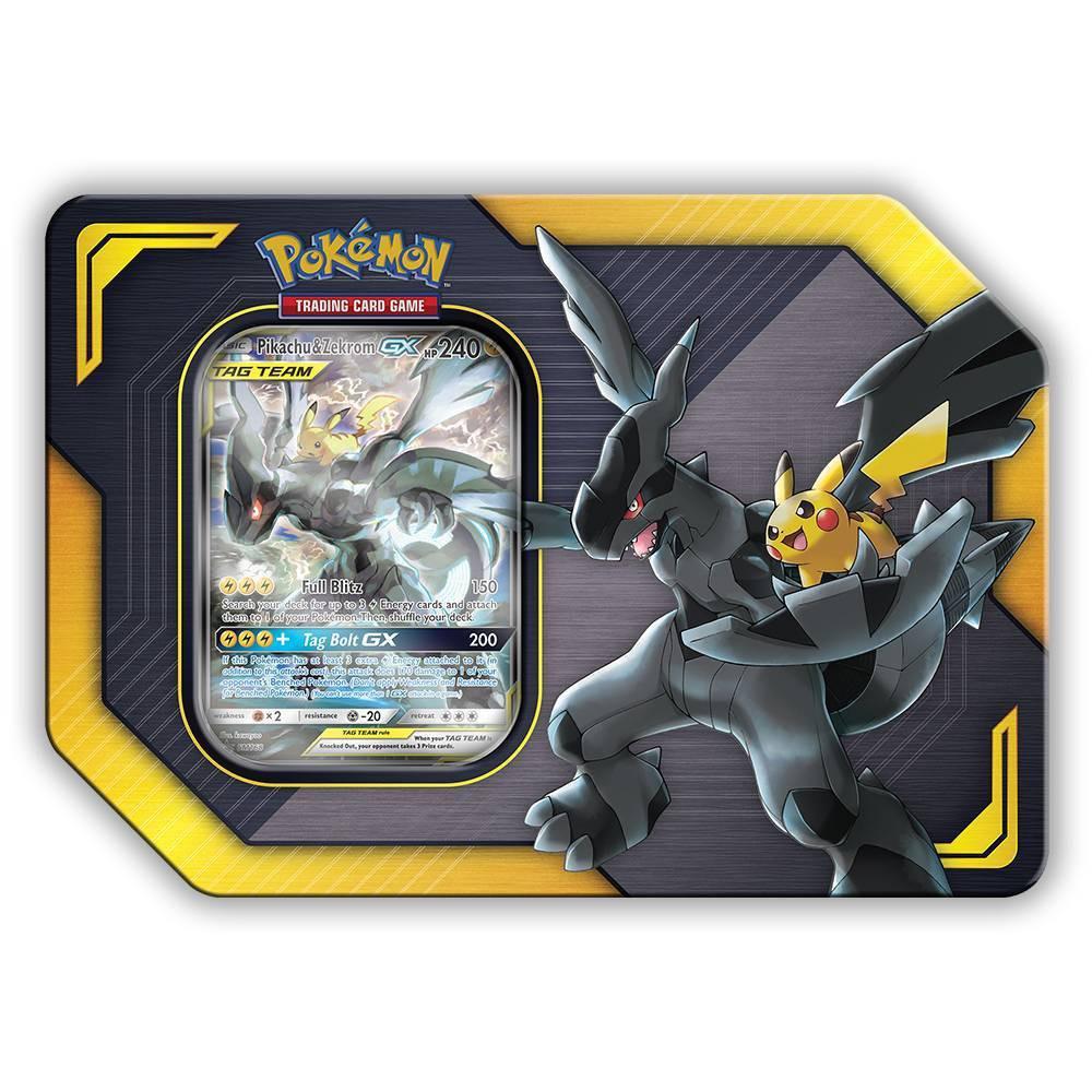 Pokemon Trading Card Game Tag Team Tins Featuring Pikachu & Zekrom GX