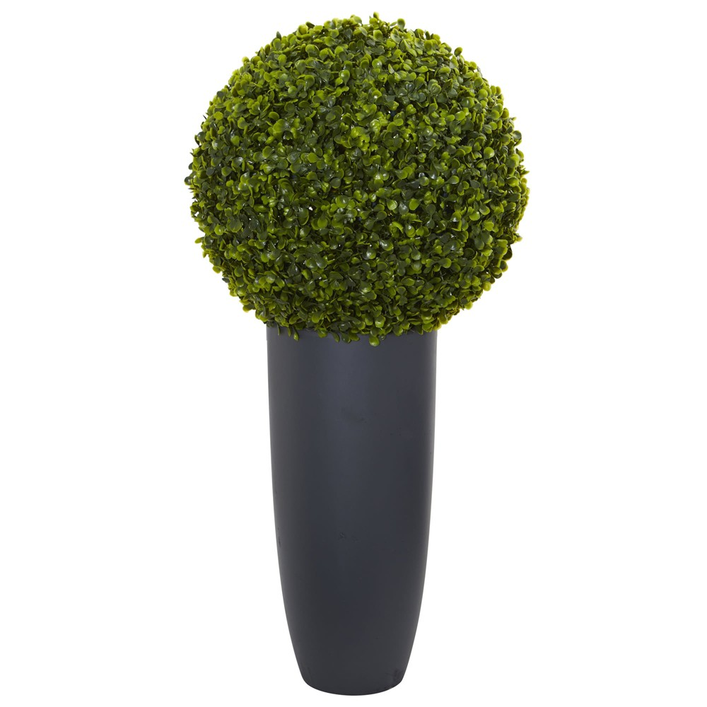 1ft Boxwood Artificial Topiary Plant In Gray Cylinder Planter - Nearly Natural, Green