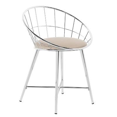 Bullock Rounded Disc Metal Vanity Stool Cream - Hillsdale Furniture