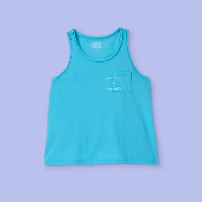 Girls' Cropped Graphic Tank Top - More Than Magic™ Turquoise