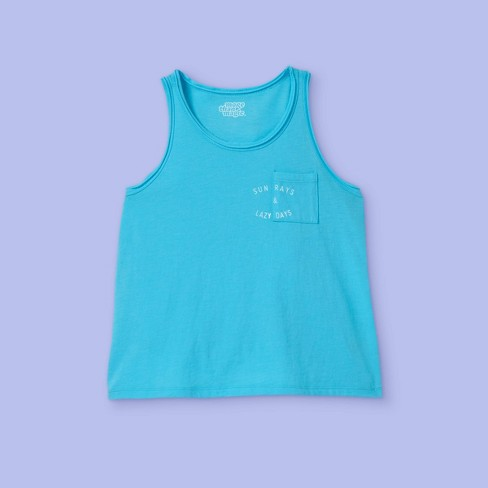 Girls' Cropped Graphic Tank Top - More Than Magic™ Turquoise - image 1 of 2
