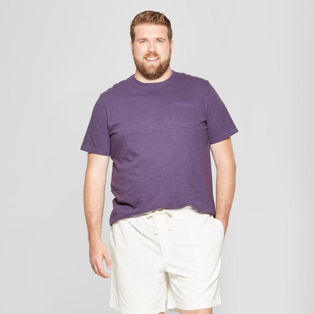 Men's Big & Tall Short Sleeve Pocket Crew Neck T-Shirt - Goodfellow & Co Purple Currant 5XB