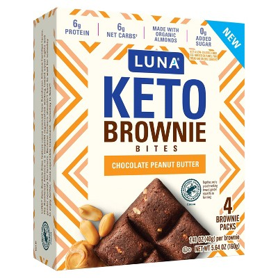 Luna Keto Brownie Bites Chocolate Peanut Butter - 4pk