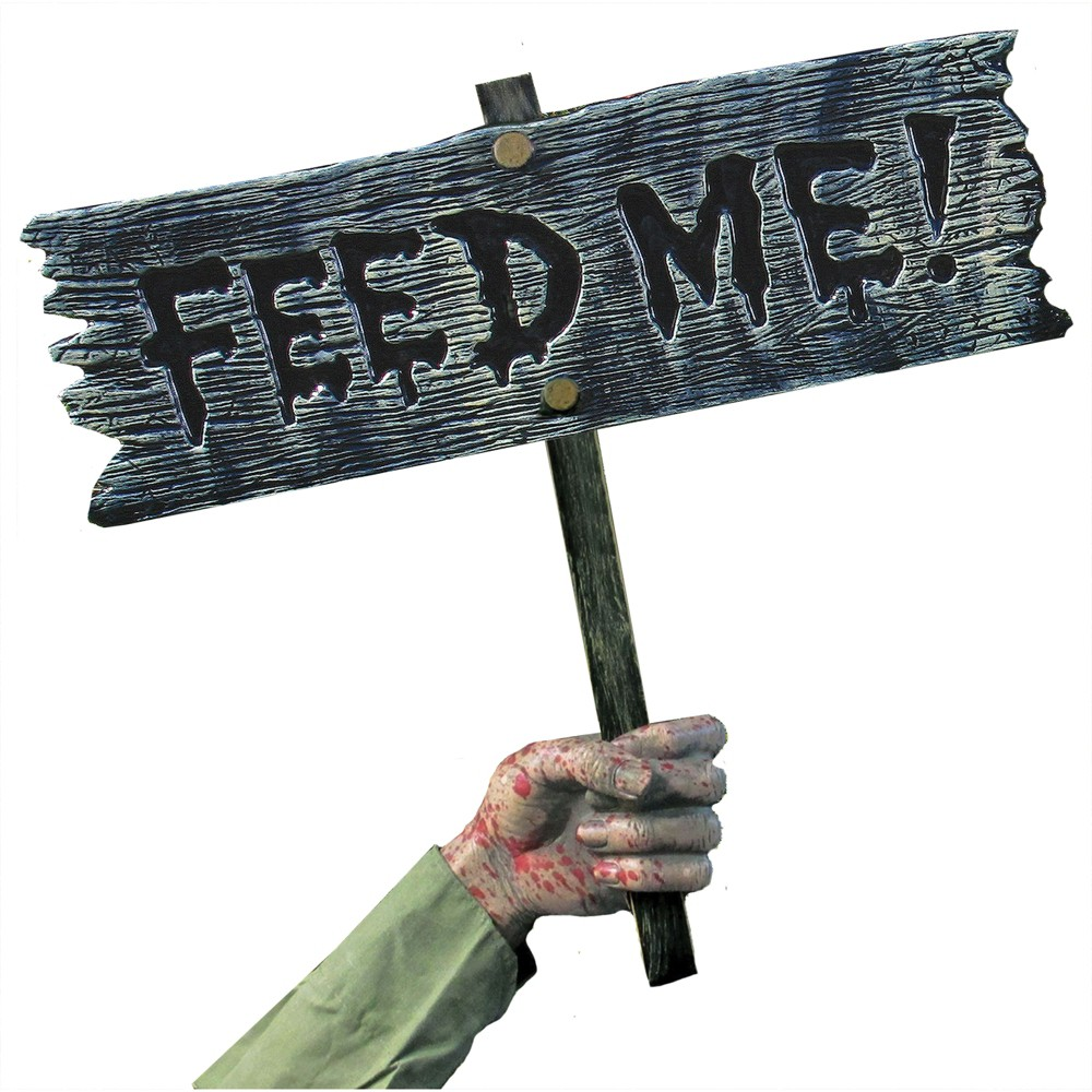 Image of 18 Halloween Feed Me Warning Ground Stake Sign, Multi-Colored