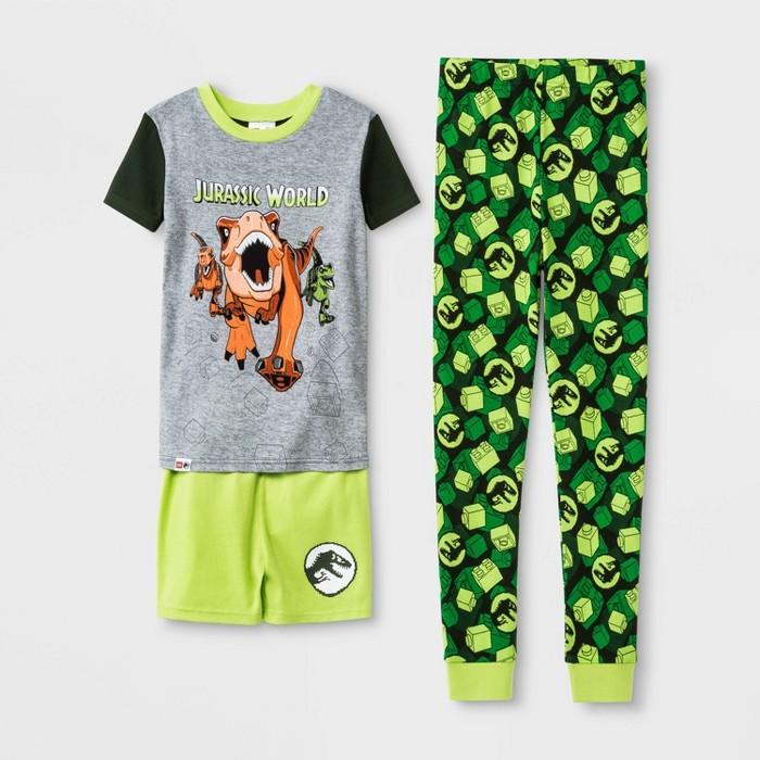 Boys' LEGO Jurassic World 3pc Pajama Set - Green - image 1 of 1
