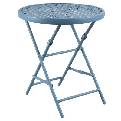 Metal Punch Folding Patio Accent Table - Blue - Threshold™
