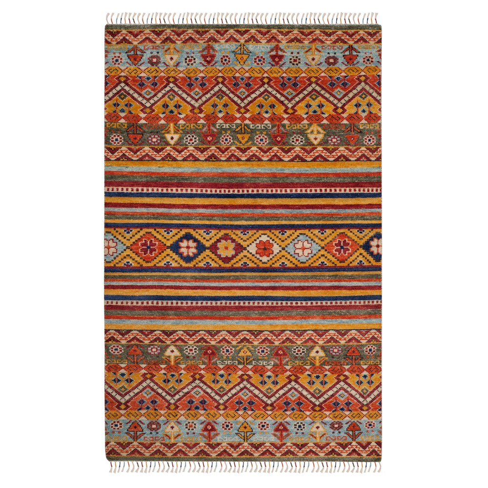 Tribal Design Knotted Area Rug 6'X9' - Safavieh, Multicolored