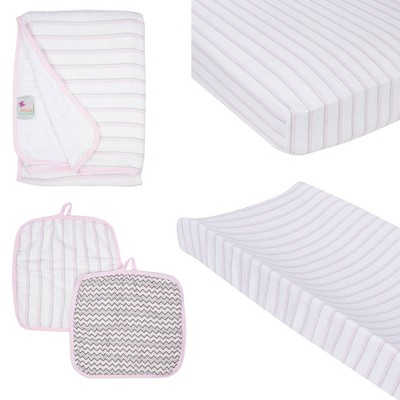 MiracleWare Fitted Sheets Nursery Set - Pink Stripes 4pc