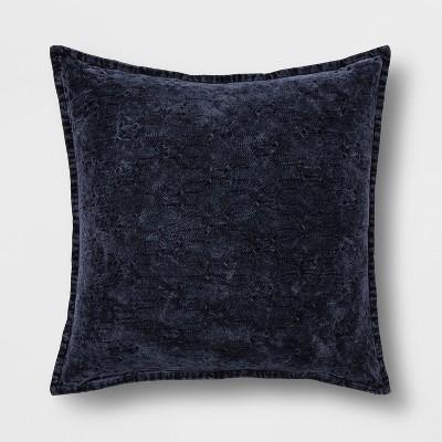 Stonewashed Chenille Oversized Square Throw Pillow Blue - Threshold™