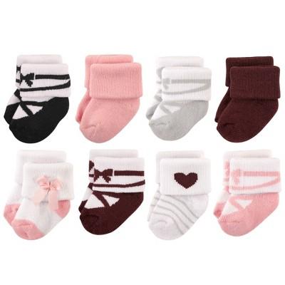 Hudson Baby Infant Girl Cotton Rich Newborn and Terry Socks, Ballet Burgundy