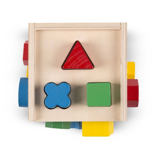 Melissa & Doug Shape Sorting Cube - Classic Wooden Toy With 12 Shapes image number null