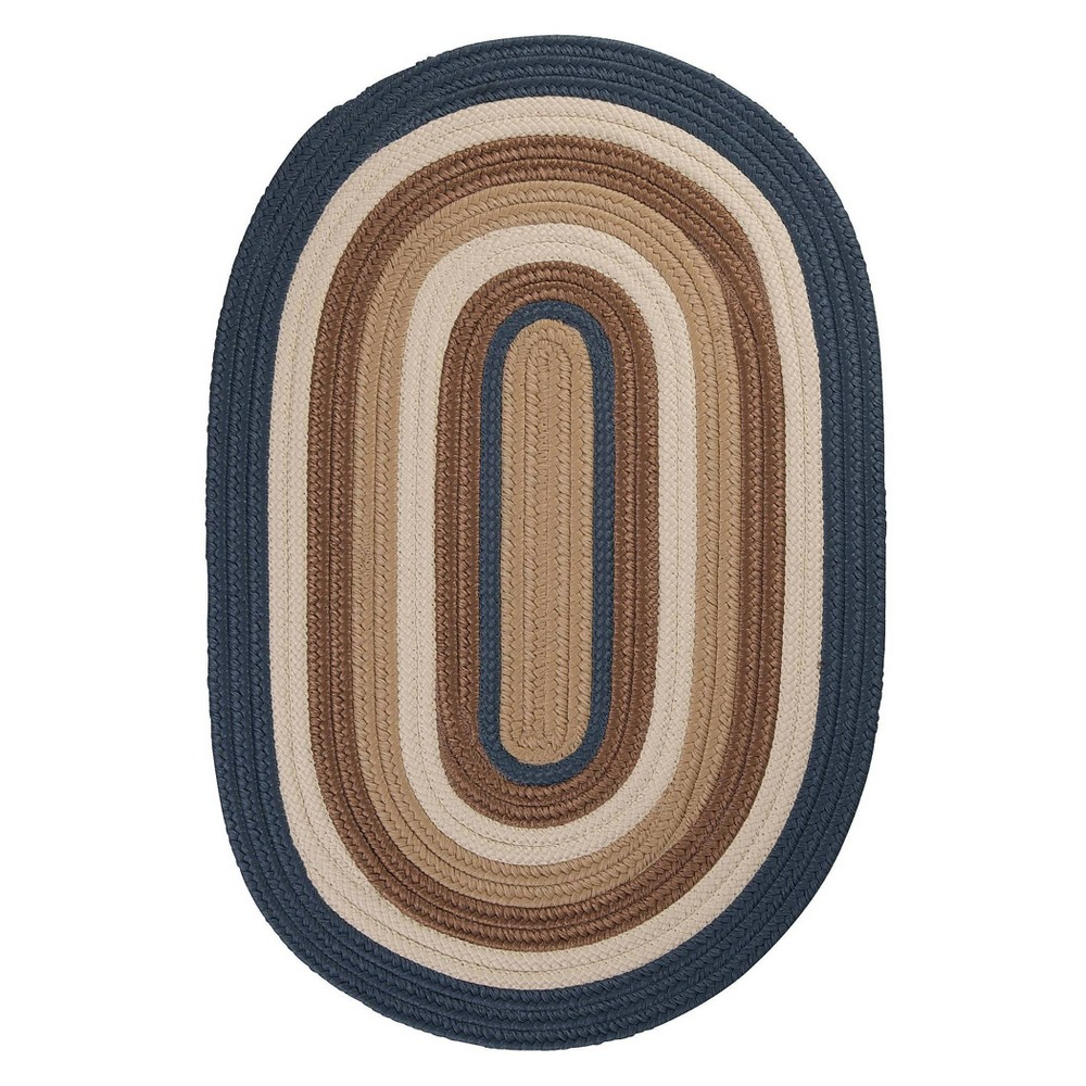 Oval Mountain Top Braided Area Rug Blue