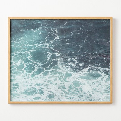 """30"""" x 36"""" Ocean Wave Light Wood Frame Under Glass No Mat - Threshold™ designed with Studio McGee"""