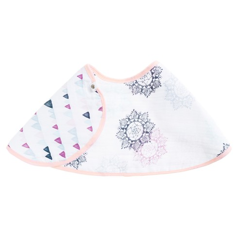 Aden® by Aden + Anais® Printed Cloth Bib - Pink/White - image 1 of 3
