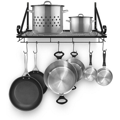 Sorbus Kitchen Wall Pot Pan Rack Black