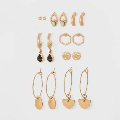 Mixed Semi-Precious with Geometric Charms Multi Earring Set 8pc - Universal Thread™