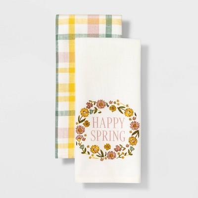 2pk Cotton Happy Spring Kitchen Towels - Threshold™
