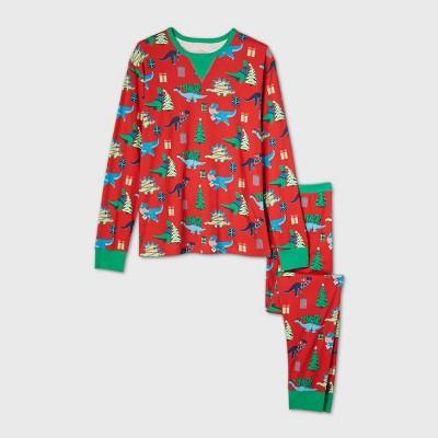 Men's Holiday Dinosaur Print Matching Family Pajama Set - Wondershop™ Red 2XL