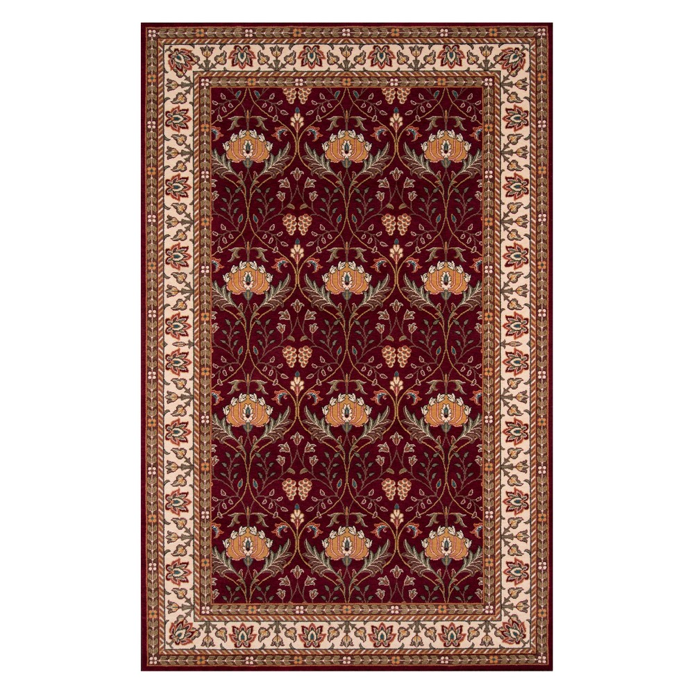 5'X8' Floral Loomed Area Rug Burgundy (Red) - Momeni