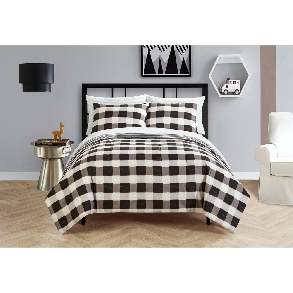Image of Full Checkered Bed in a Bag Black/White - Heritage Club