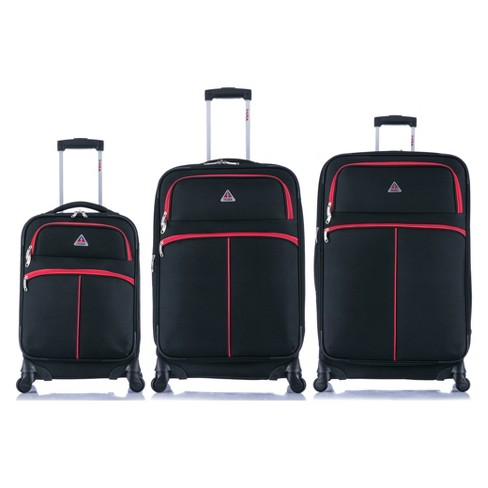 "InUSA Roller-Fi 3pc Softside Spinner Luggage Set 20""& 24""& 28"" - Black/Red - image 1 of 6"