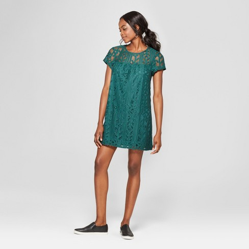 341a19447a0 Women s Illusion Neckline Lace Shift Dress - Lots of Love by Speechless  (Juniors ) Dark Green