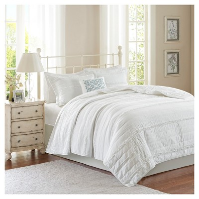 Alexis Ruffle Quilted Coverlet Set (Full/Queen)White - 4pc