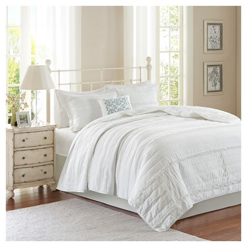 Alexis Ruffle Quilted Coverlet Set King California King White