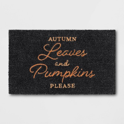 "1'6""x2'6"" Autumn Leaves Harvest Doormat Black - Threshold™"