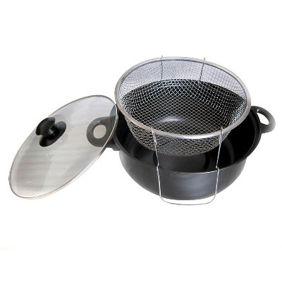 Gourmet Chef 4.5qt Nonstick Deep Fryer with Frying Basket and Glass Lid Black