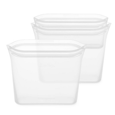 Zip Top Reusable 100% Platinum Silicone Container 3 Bag Set (2 Sandwich Size/1 Snack Size)- Clear