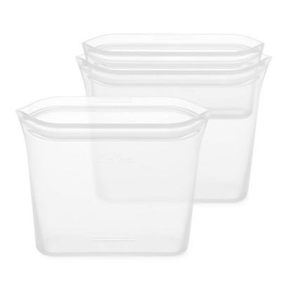Zip Top Reusable 100% Platinum Silicone Container 3 Bag Set (2 Sandwich Size/1 Snack Size)