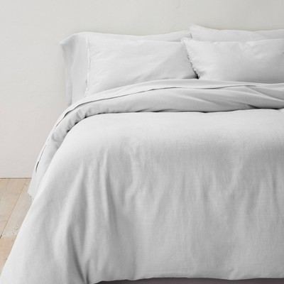 King Heavyweight Linen Blend Duvet Cover & Sham Set Light Gray - Casaluna™