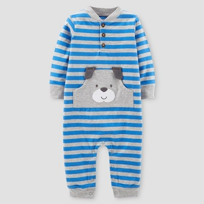 Baby Boys' Stripe Dog Jumpsuit - Just One You® made by carter's Blue 3M