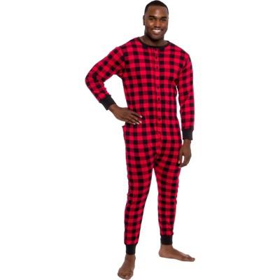 Ross Michaels - Men's Buffalo Plaid One Piece Pajama Union Suit with Butt Flap